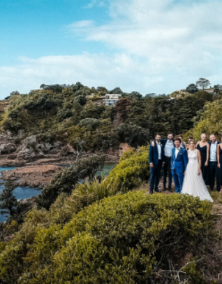 Thumb drone wedding photos waiheke isand up up 2
